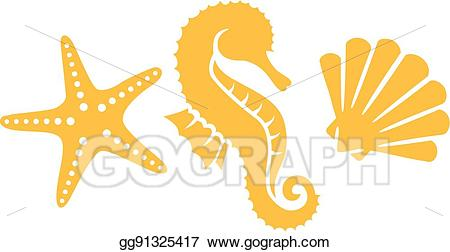 Vector seahorse with and. Shell clipart sea horse