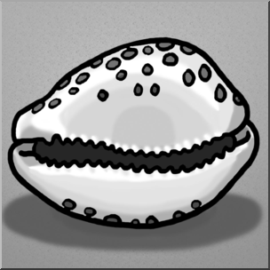 Clip art seashells grayscale. Shell clipart shell cowrie