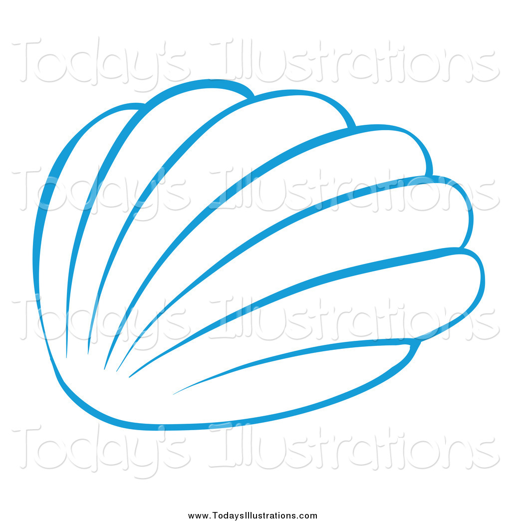 Of a blue sea. Shell clipart simple