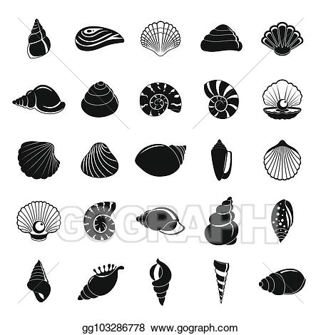 Shell clipart simple. Sea icons set style