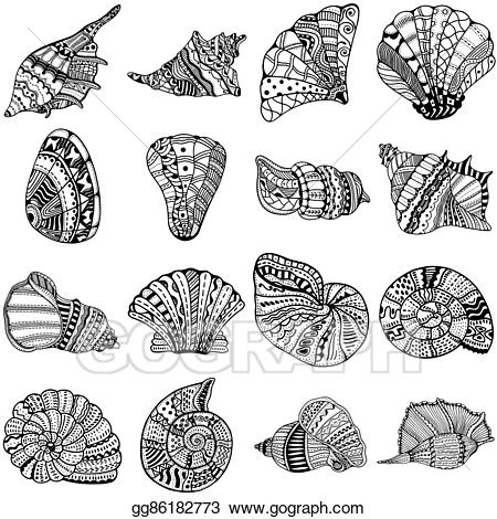 Shell clipart tattoo. Stock illustrations set of