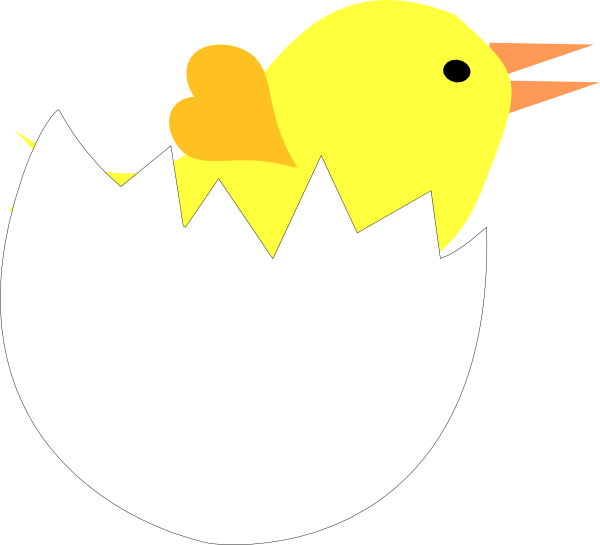 Yellow Chick In Cracked Eggshell Clip Art at Clker