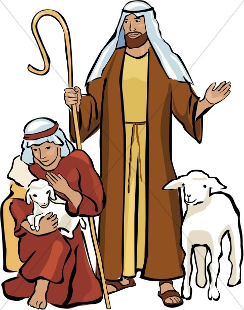 Nativity clipart shepards. Two shepherds and lambs