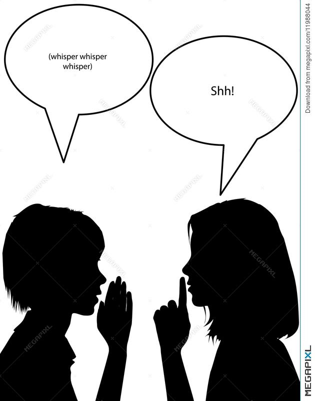 Whisper shh silhouette women. Shhh clipart wisper