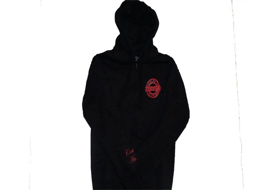 Certified hustler blk rd. Zipper clipart jacket zipper