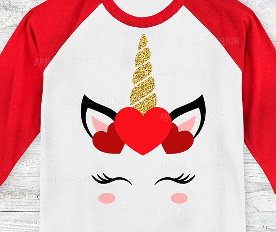 Unicorn svg face girl. Valentine clipart shirt