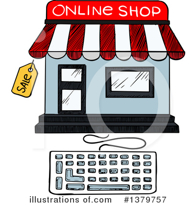 Online illustration by vector. Shop clipart