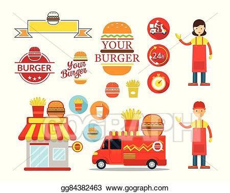 Vector graphic elements . Shop clipart burger store