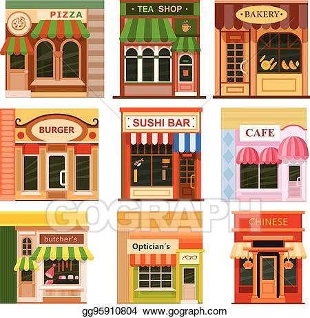Eps illustration flat icon. Shop clipart burger store