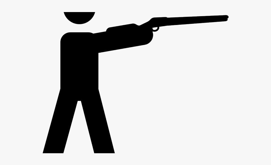 Gun hunter shoot cliparts. Shot clipart rifle shooting
