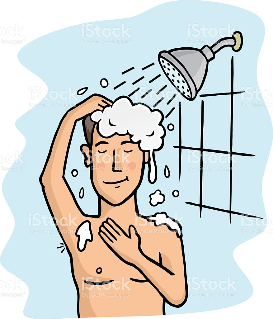 Taking a shower image. Showering clipart