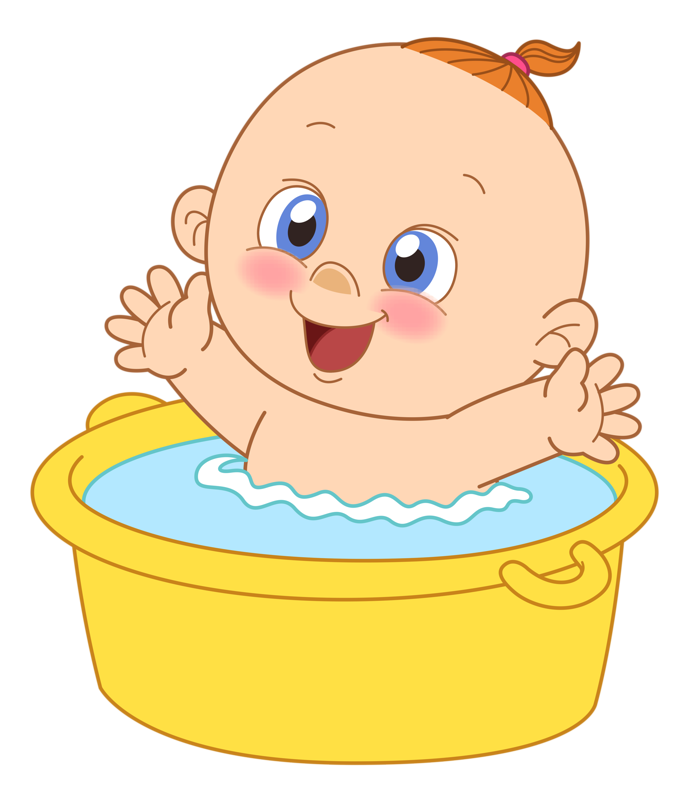 Infant bathing drawing baby. Showering clipart draw