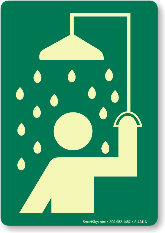 Showering clipart emergency shower. Safety signs station zoom