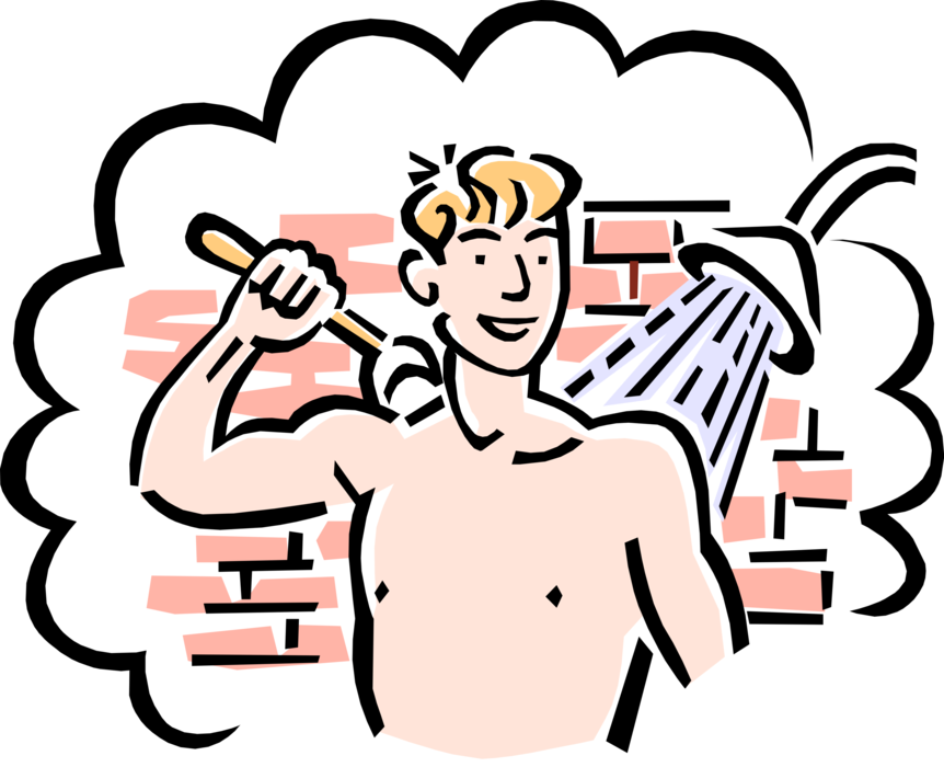 Teenage boy cleans up. Showering clipart hygiene