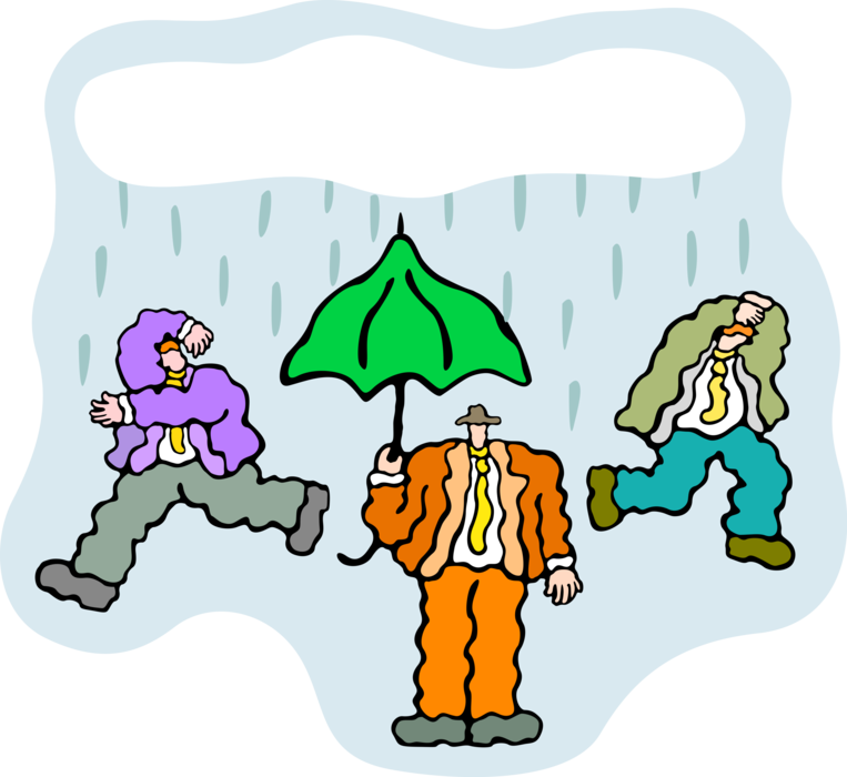 Showering clipart inclement weather. Executives run from rain
