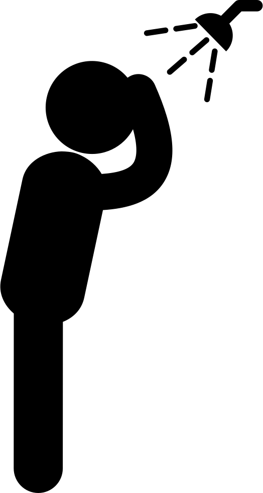 Showering clipart man. Standing under the shower