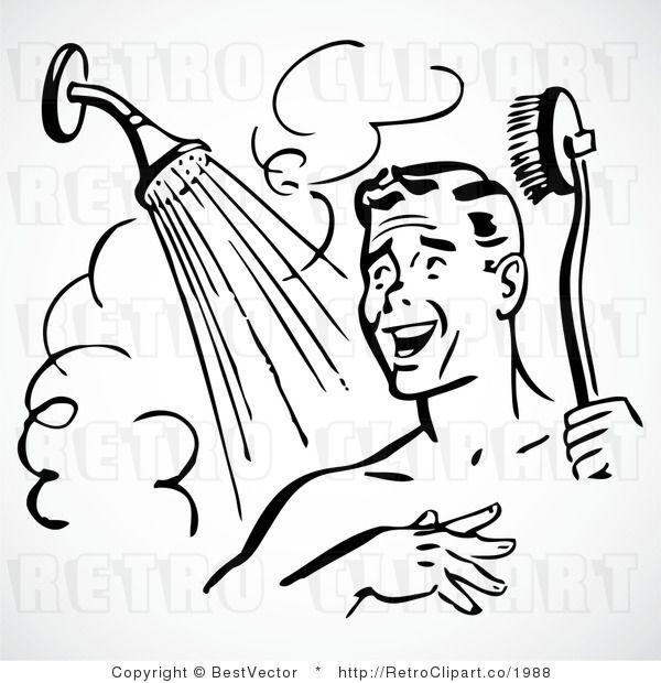 Happy retro vector graphic. Showering clipart man