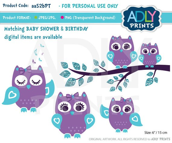 Purple teal girl for. Showering clipart mom baby owl