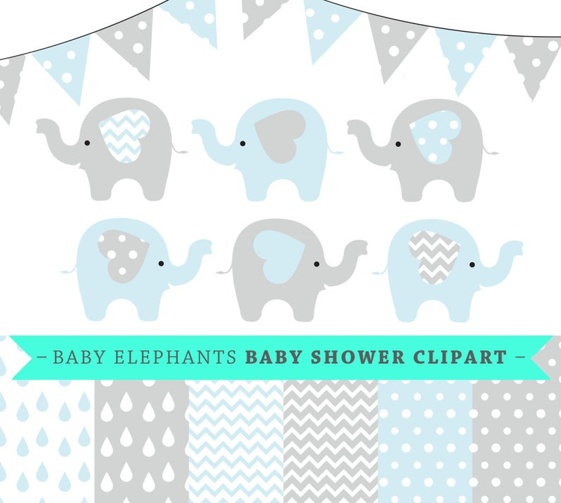 Premium baby shower elephants. Showering clipart vector