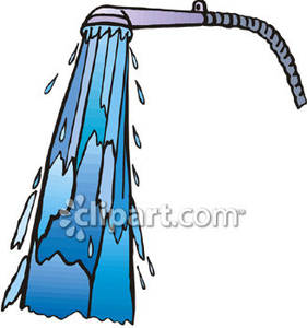 Spraying from a shower. Showering clipart water spray
