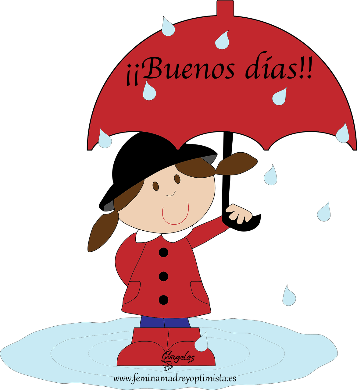 Buenos d as con. Windy clipart girl raincoat