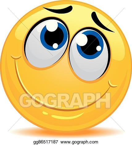 Vector art smiley emoticon. Shy clipart