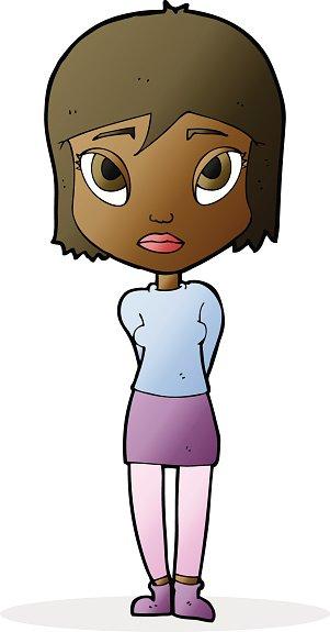 Cartoon girl premium clipartlogo. Shy clipart animated