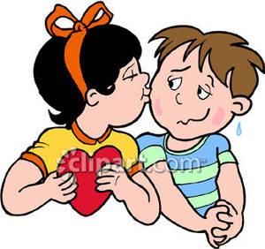 A girl kissing boy. Shy clipart child depression
