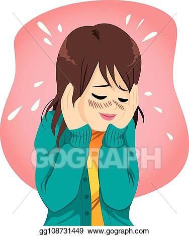 Shy clipart embarrassed. Vector woman illustration