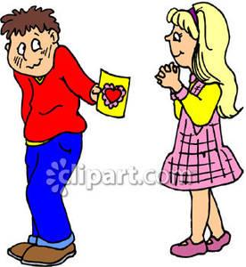 Shy clipart shy kid. Boy giving a girl