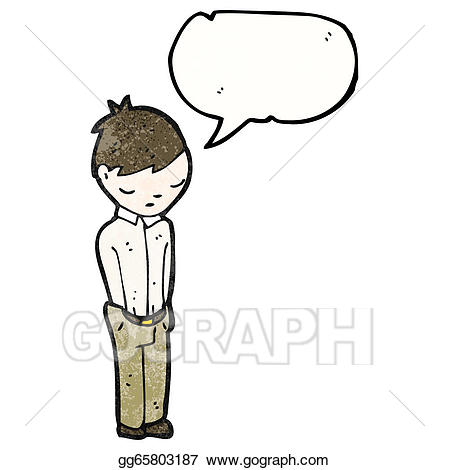 Vector art cartoon eps. Shy clipart shy man