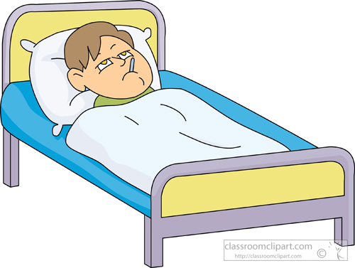 Boy in bed . Sick clipart