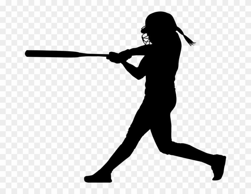 Pin transparent batting player. Softball clipart silhouette