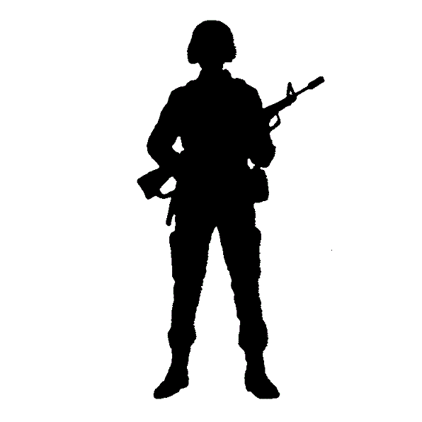 Silhouette clipart soldier. Military clip art transprent