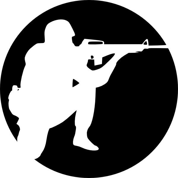 Silhouette clipart soldier. Circle aiming clip art