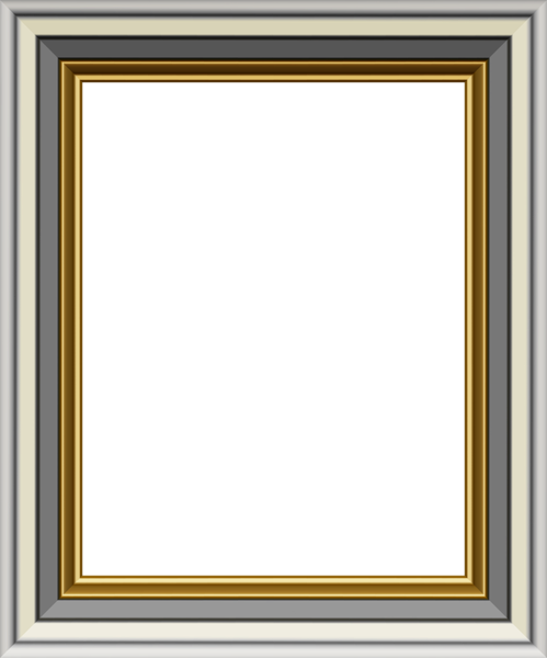 Gold and transparent image. Silver frame png