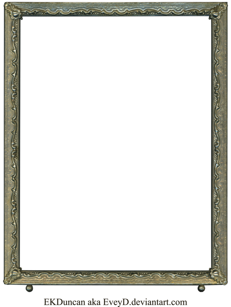 Silver frame png. Antique vintage photo by