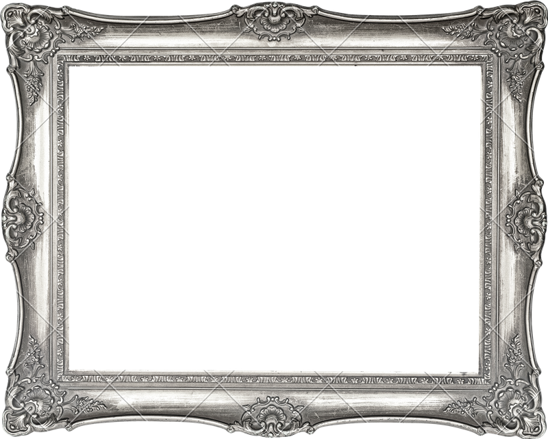 Vintage isolated on white. Silver picture frame png