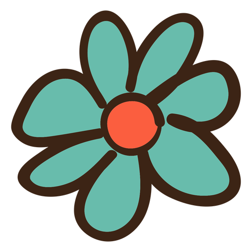 Simple flower png. Colored doodle transparent svg
