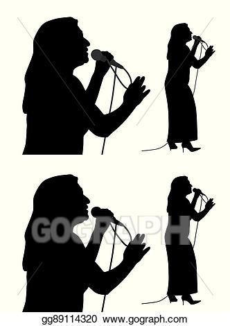 Singer clipart senior. Vector illustration female eps