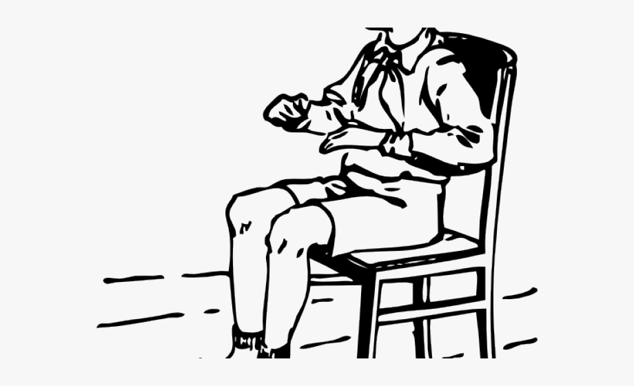 Sit clipart black and white. Chair seating