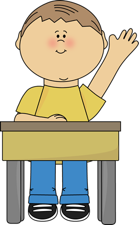 Desk clipart preschool. Raise hand clip art