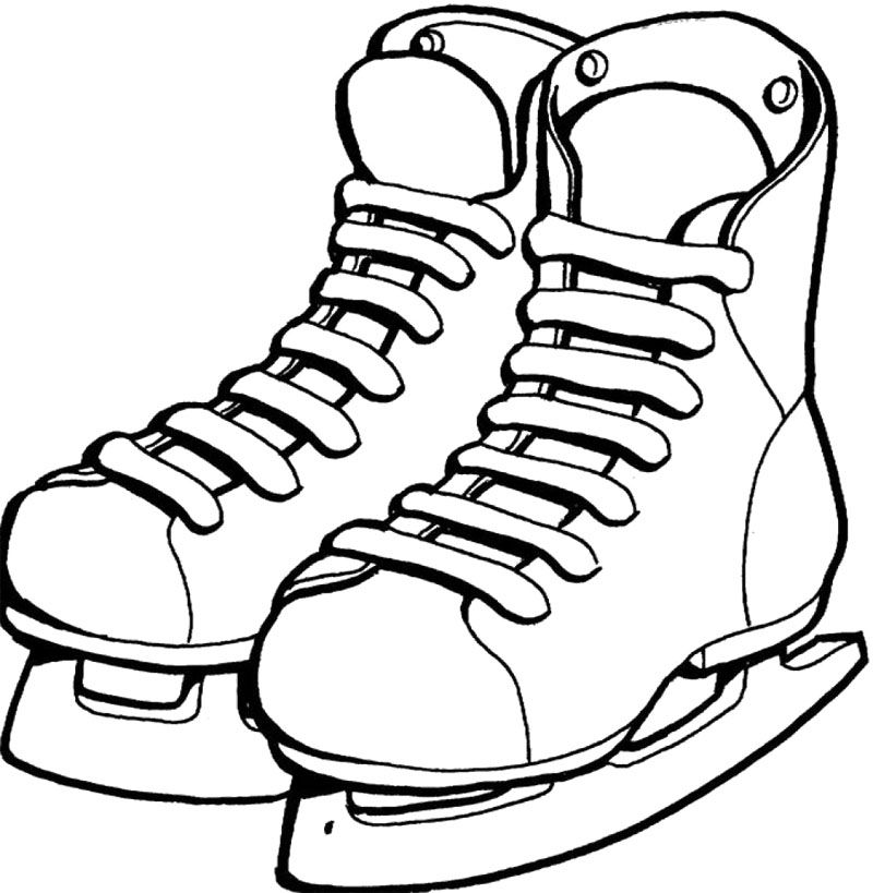 Shoes ice skating coloring. Skate clipart colouring page