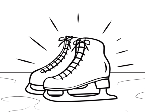 Skate clipart colouring page. Ice skates coloring free