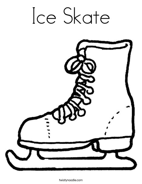 Skate clipart colouring page. Ice coloring twisty noodle