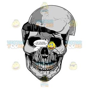 Grinning grey skull with. Skeleton clipart empty