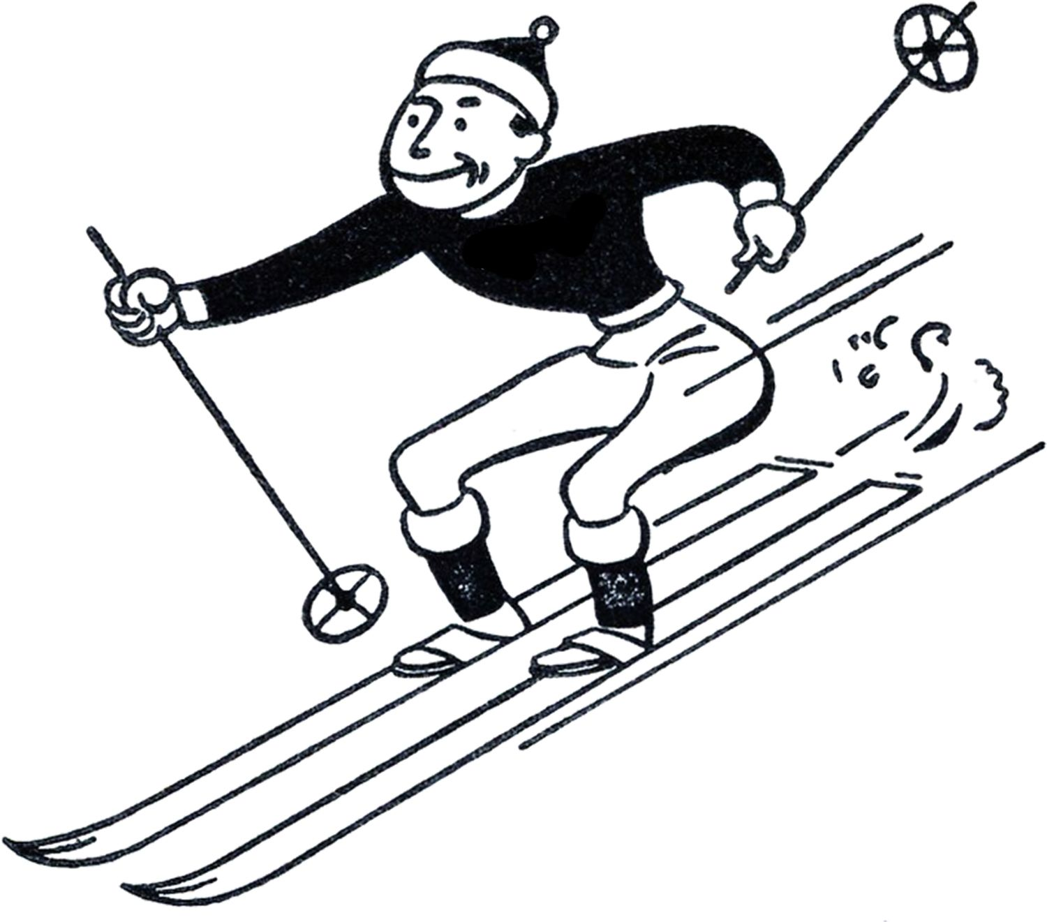 Funny retro graphics fairy. Skiing clipart