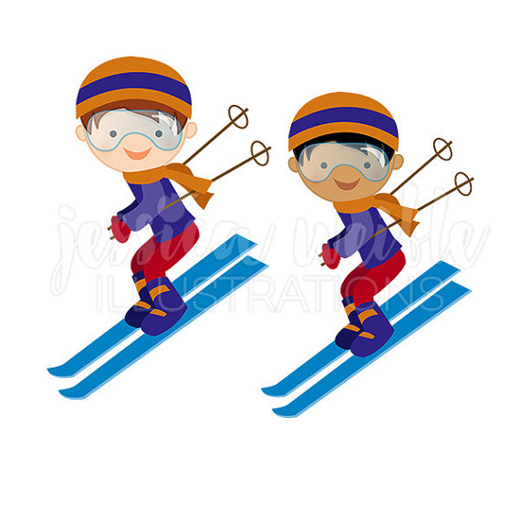 Skiing clipart. Boy downhill skier cute
