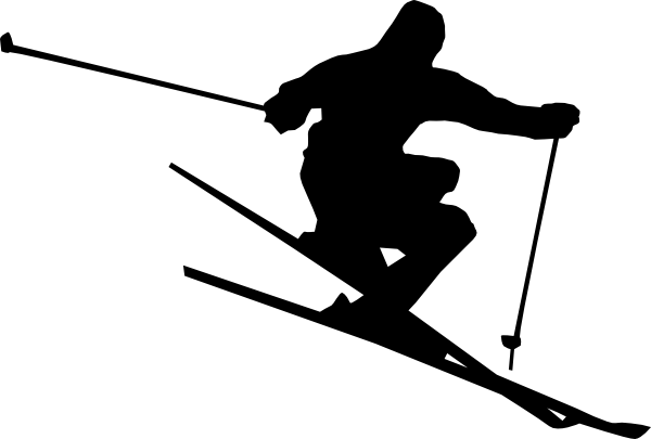 Black and white . Skiing clipart