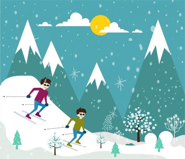 Skiing clipart activity. Printable sports drawing